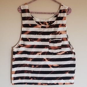 *3/$20* Zara Special T Bleach Dye Striped Tank